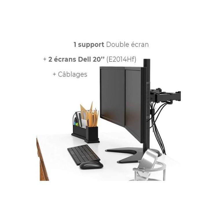 """Ecran Occasion Pack Dell 2 ecrans E2014Hf avec support home 2 moniteurs 13""""et 27"""" - ordinateur occasion"""